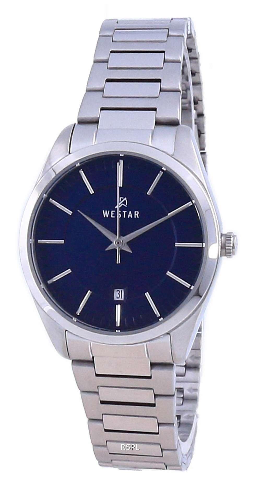 Westar esfera azul acero inoxidable cuarzo 40213 STN 104 reloj para mujer