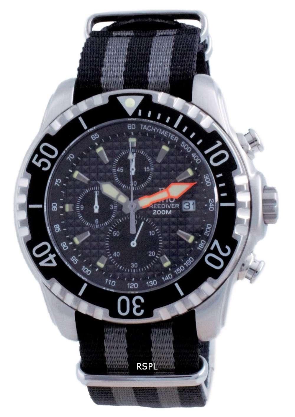 Ratio Free Diver Cronógrafo Nylon Quartz Diver&#39,s 48HA90-17-CHR-BLK-var-NATO1 200M Reloj para hombre