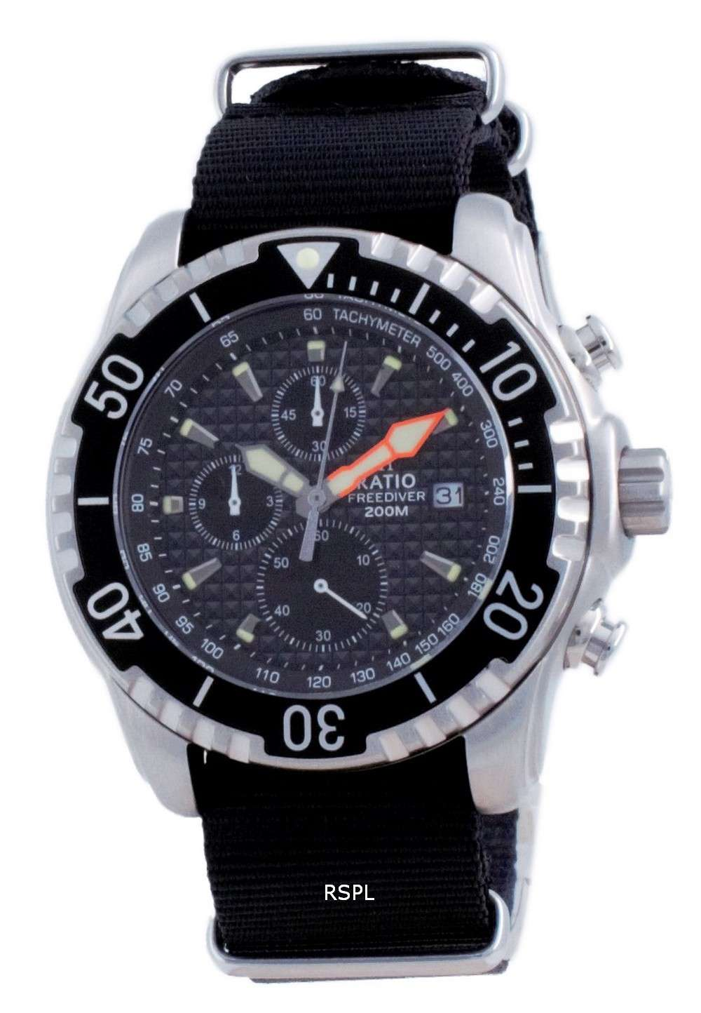 Ratio Free Diver Cronógrafo Nylon Quartz Diver&#39,s 48HA90-17-CHR-BLK-var-NATO4 200M Reloj para hombre
