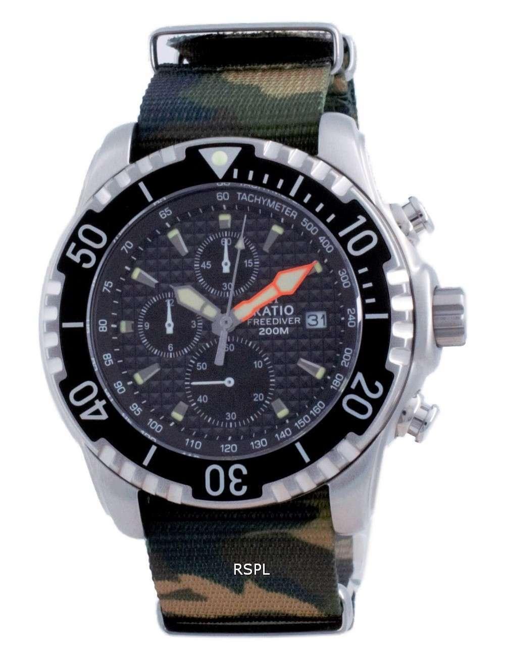 Ratio Free Diver Chronograph Nylon Quartz Diver&#39,s 48HA90-17-CHR-BLK-var-NATO5 200M Reloj para hombre