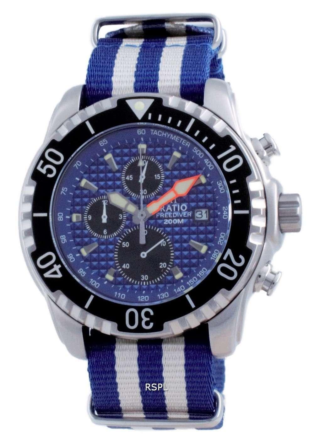 Ratio Free Diver Cronógrafo Nylon Quartz Diver&#39,s 48HA90-17-CHR-BLU-var-NATO2 200M Reloj para hombre
