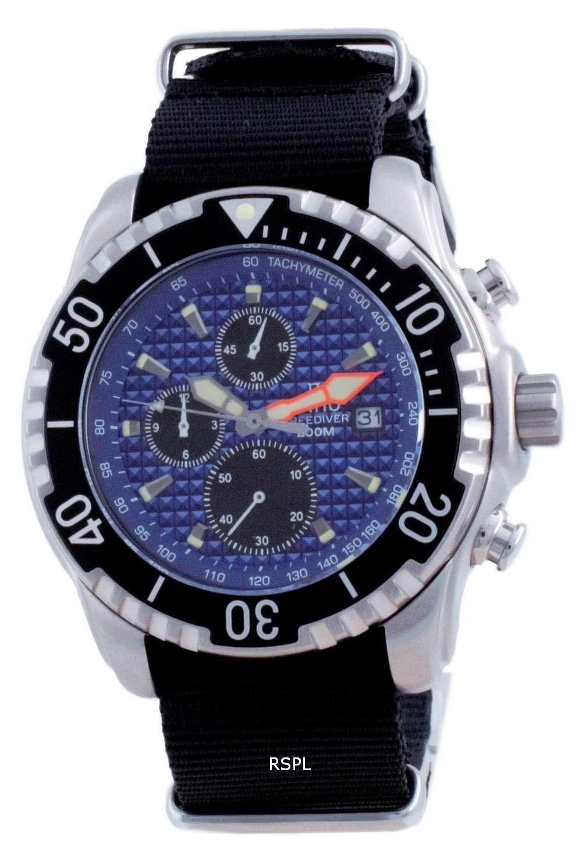 Ratio Free Diver Cronógrafo Nylon Quartz Diver&#39,s 48HA90-17-CHR-BLU-var-NATO4 200M Reloj para hombre