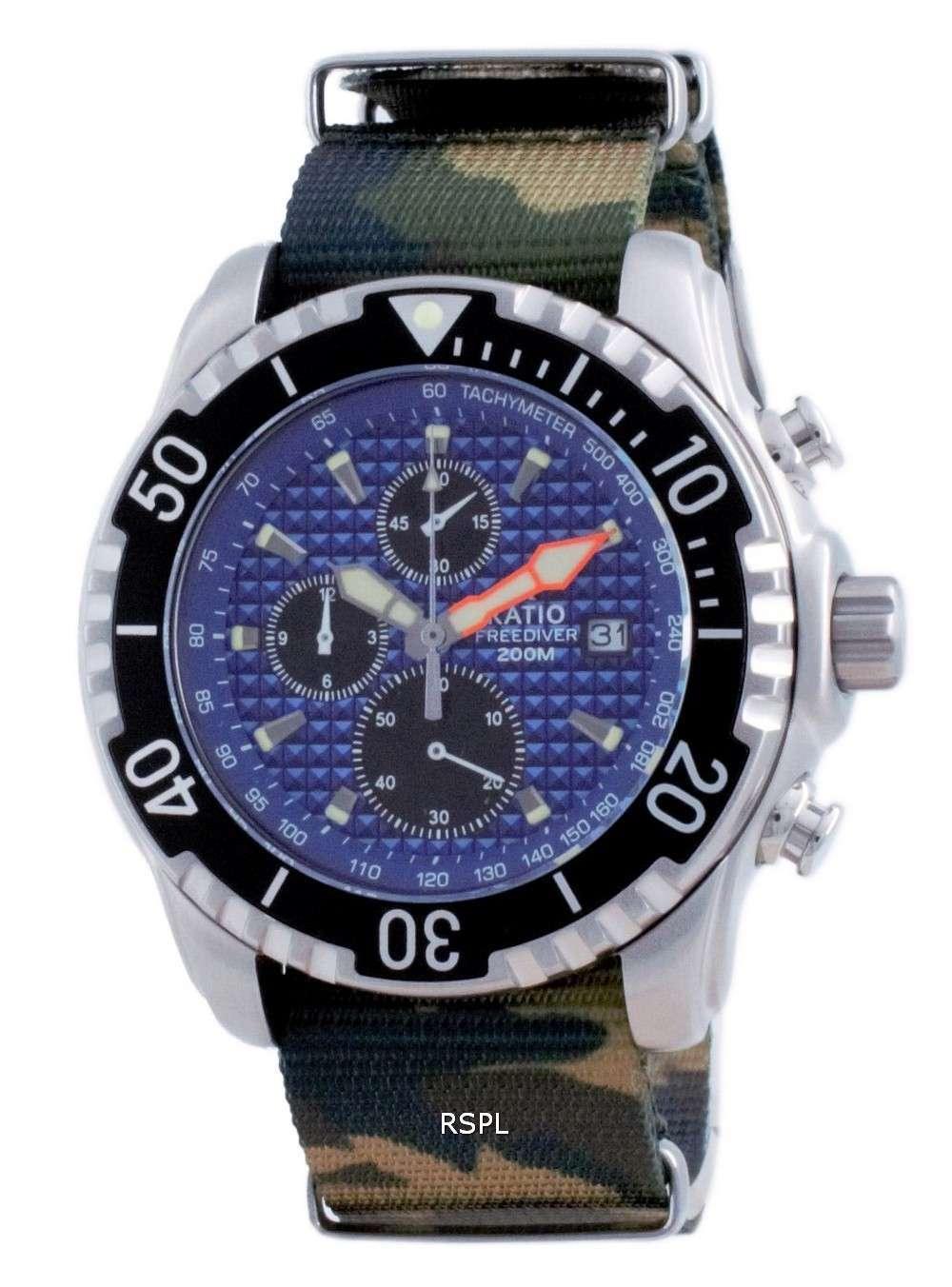 Ratio Free Diver Cronógrafo Nylon Quartz Diver&#39,s 48HA90-17-CHR-BLU-var-NATO5 200M Reloj para hombre