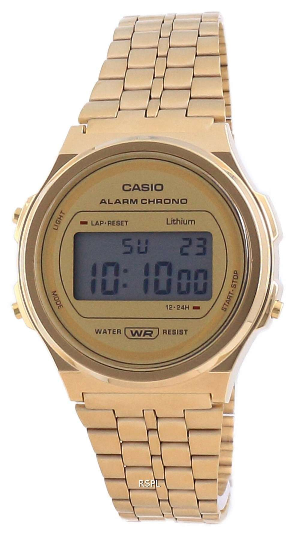 Reloj unisex Casio Youth Vintage en tono dorado de acero inoxidable digital A171WEG-9A