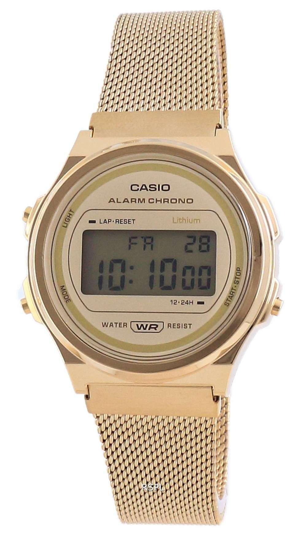 Reloj unisex Casio Youth Vintage en tono dorado de acero inoxidable digital A171WEMG-9A