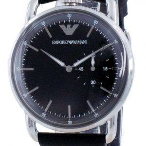 Reloj Emporio Armani con esfera negra de cuero y cuarzo AR11336 para hombre