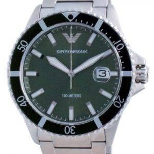Reloj Emporio Armani con esfera verde de acero inoxidable y cuarzo AR11338 100M para hombre