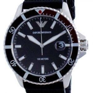 Reloj Emporio Armani con esfera negra de goma y cuarzo AR11341 100M para hombre