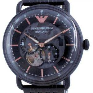 Emporio Armani Aviator Negro Dial de acero inoxidable automático AR60025 Reloj para hombre