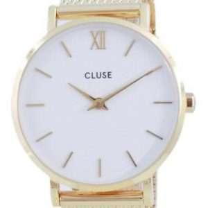 Cluse Minuit, esfera blanca, tono dorado, acero inoxidable, cuarzo, CW0101203007, reloj para mujer