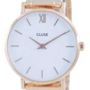 Cluse Minuit 3-Link White Dial Rose Gold Tone Acero inoxidable Quartz CW0101203027 Reloj para mujer