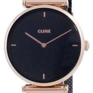 Cluse Triomphe Reloj de cuarzo de acero inoxidable de dos tonos con esfera negra CW0101208005 para mujer