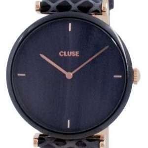 Cluse Triomphe Reloj de cuarzo de cuero con esfera negra CW0101208012 para mujer