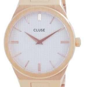Cluse Vigoureux H-Link esfera blanca tono oro rosa acero inoxidable cuarzo CW0101210001 reloj para mujer