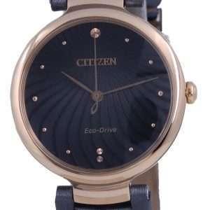 Reloj para mujer Citizen con esfera negra en tono dorado y acero inoxidable Eco-Drive EM0853-14H
