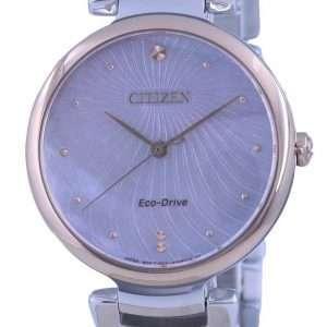 Reloj Citizen de nácar con esfera de dos tonos de acero inoxidable Eco-Drive EM0854-89Y para mujer
