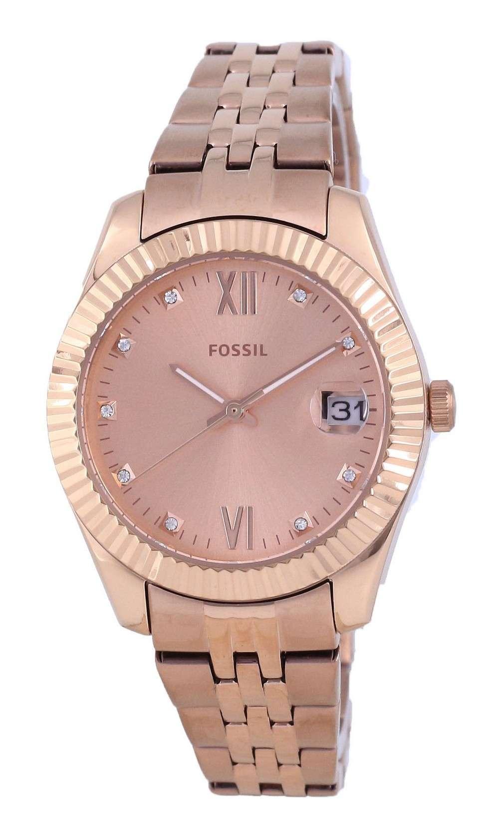 Fossil Scarlette Mini reloj de cuarzo de acero inoxidable en tono dorado rosa ES4898 para mujer