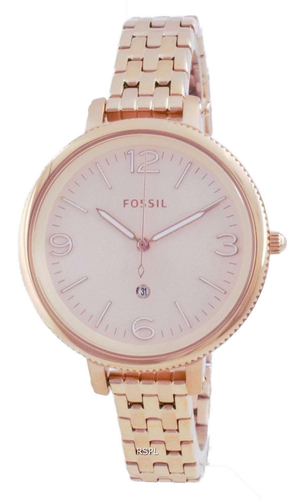 Reloj Fossil Monroe de acero inoxidable de oro rosa de cuarzo ES4946 para mujer