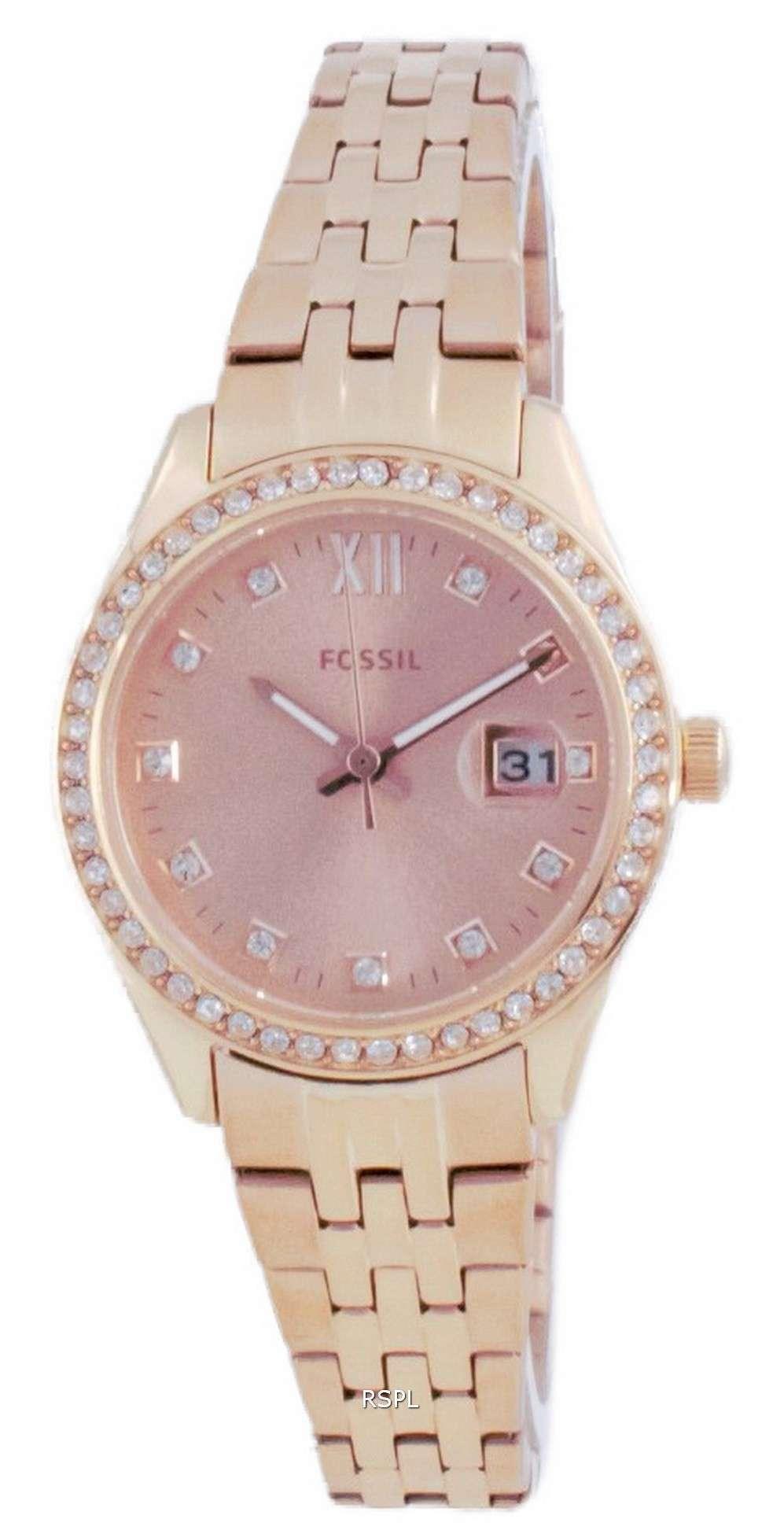 Fossil Scarlette Micro Diamond Accents Rose Gold Quartz ES5038 Reloj para mujer