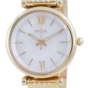 Fossil Carlie Mini reloj de cuarzo de acero inoxidable en tono dorado ES5067SET con juego de regalo para mujer