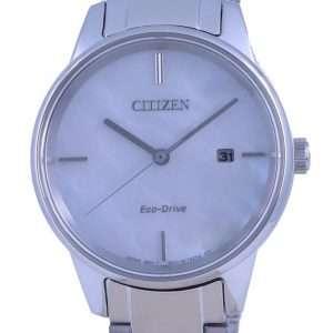 Reloj Citizen de nácar con esfera de acero inoxidable Eco-Drive EW2590-85D para mujer