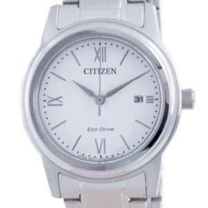 Reloj para mujer Citizen Classic con esfera blanca de acero inoxidable Eco-Drive FE1220-89A 100M