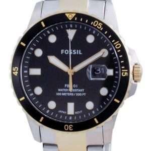 Fossil FB-01 Reloj de cuarzo de acero inoxidable con esfera negra FS5653 100M para hombre