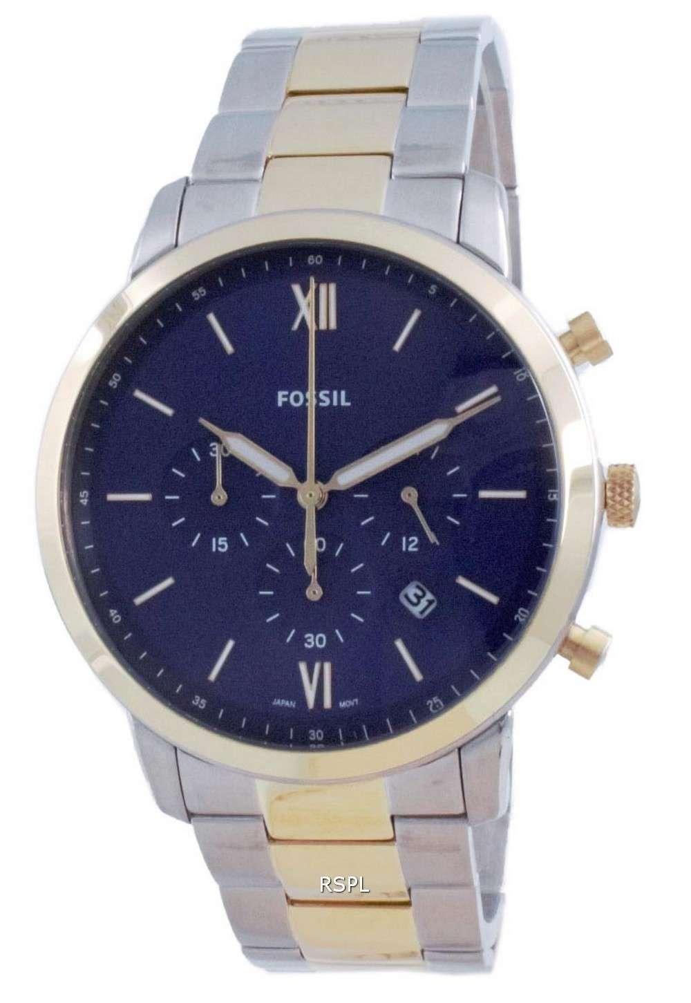 Fossil Neutra Reloj para hombre con cronógrafo de acero inoxidable con esfera azul y cuarzo FS5706