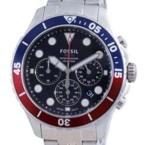 Fossil FB-03 Cronógrafo Dial negro Acero inoxidable Cuarzo FS5767 100M Reloj para hombre