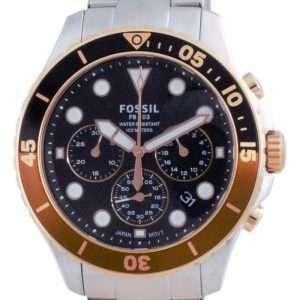 Fossil FB-03 Cronógrafo Dial negro Acero inoxidable Cuarzo FS5768 100M Reloj para hombre