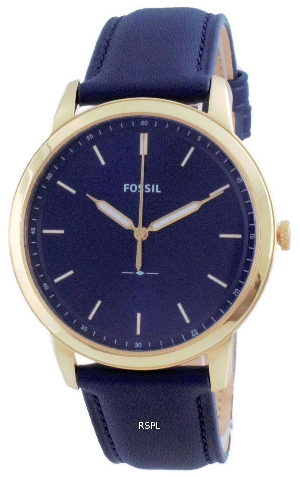 Fossil The Minimalist 3H Reloj para hombre con esfera azul, tono dorado, acero inoxidable, cuarzo