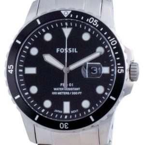 Fossil FB-01 Reloj de cuarzo de acero inoxidable con esfera negra FS5805SET 100M para hombre