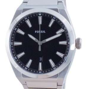 Fossil Everett Reloj para hombre FS5821 de cuarzo de acero inoxidable con esfera negra