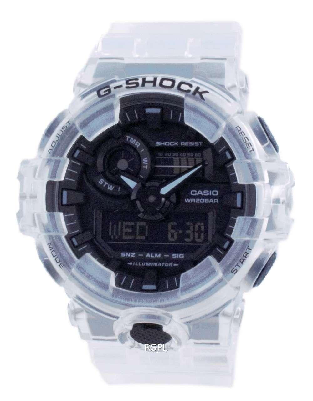 Reloj Casio G-Shock Transparente Analógico Digital Quartz Diver&#39,s GA-700SKE-7A GA700SKE-7 200M Reloj para hombre