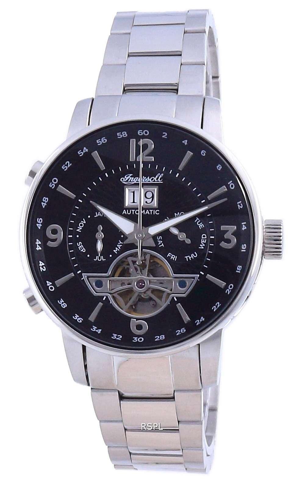 Reloj para hombre Ingersoll The Grafton, esfera negra, corazón abierto, automático, I00704