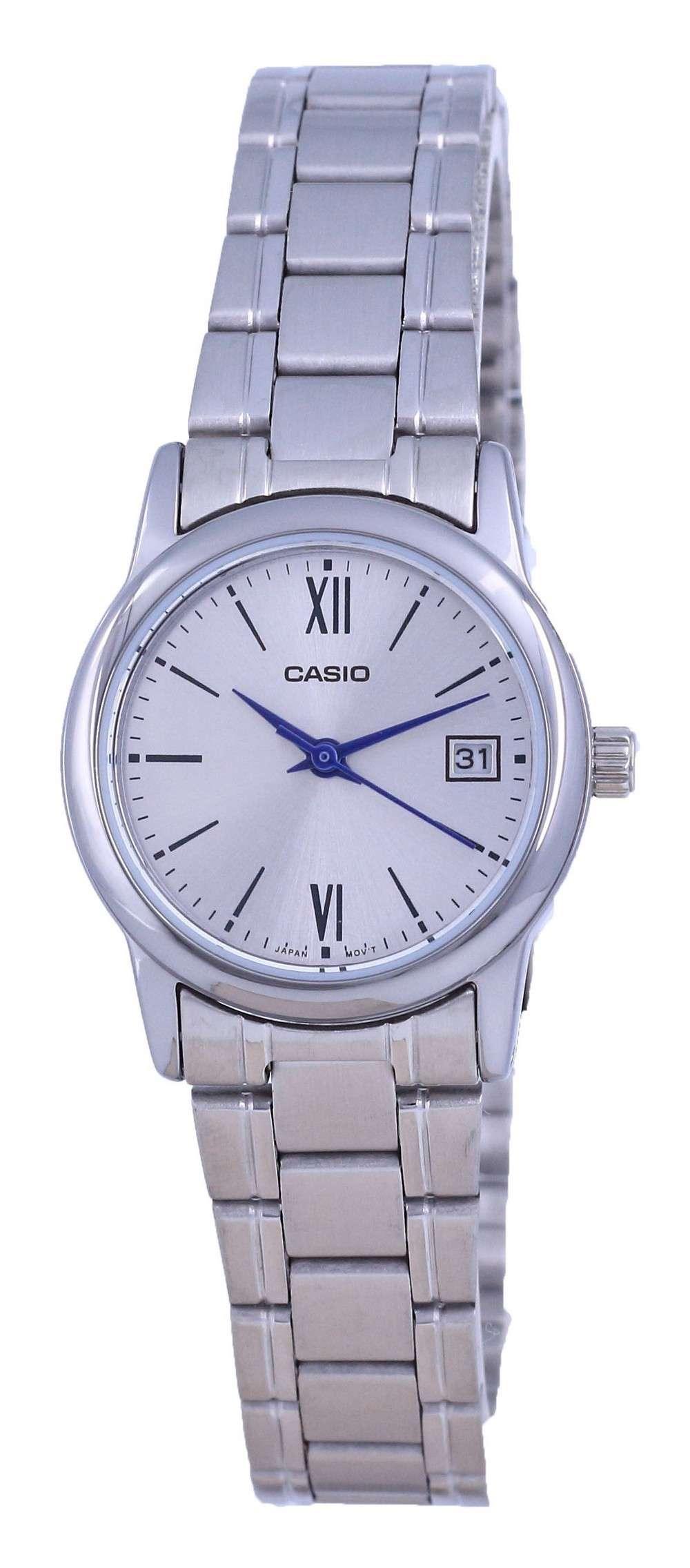 Reloj Casio de cuarzo analógico de acero inoxidable con esfera plateada LTP-V002D-7B3 LTPV002D-7 para mujer