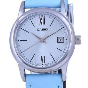 Reloj Casio de cuarzo analógico de acero inoxidable con esfera azul LTP-V002L-2B3 LTPV002L-2 para mujer