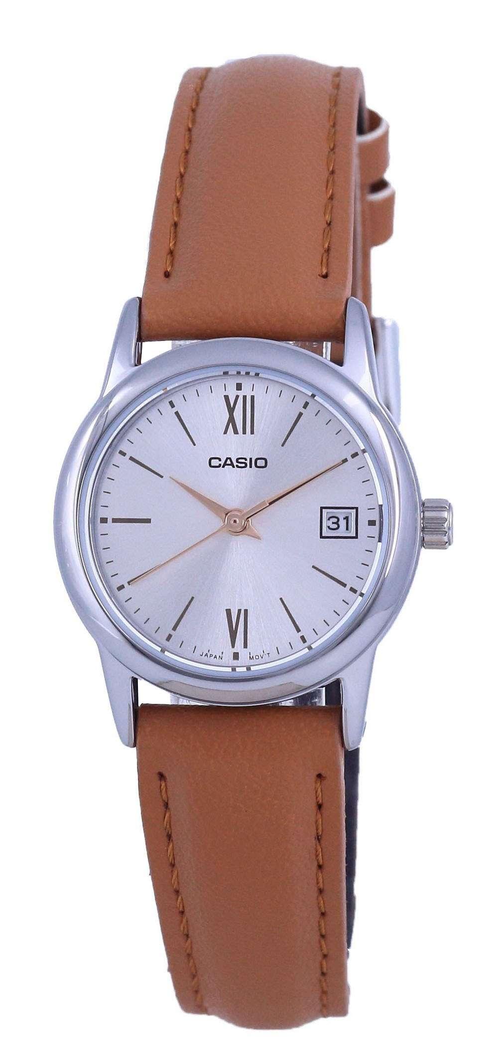 Reloj Casio de cuarzo analógico de acero inoxidable con esfera plateada LTP-V002L-7B3 LTPV002L-7 para mujer