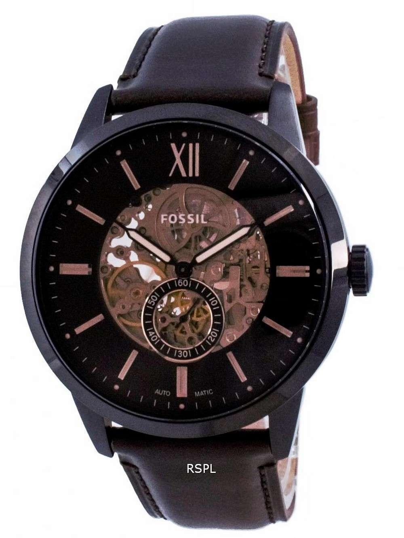 Fossil Townsman Brown Dial Automatic Skeleton ME3155 Reloj para hombre