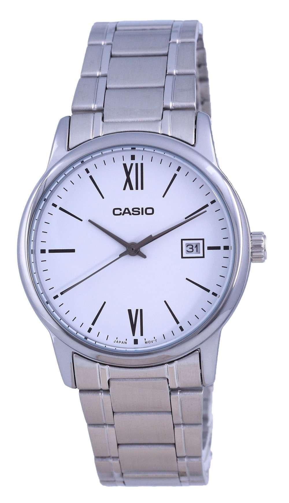 Reloj Casio de cuarzo analógico de acero inoxidable con esfera blanca MTP-V002D-7B3 MTPV002D-7 para hombre