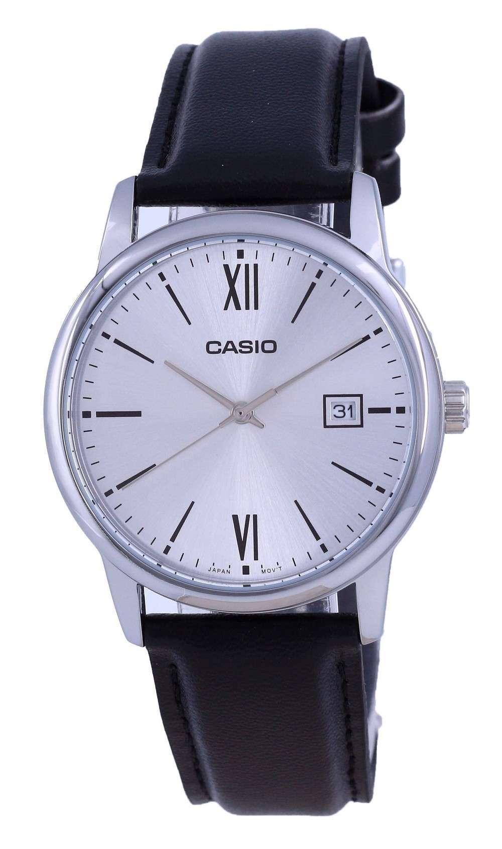 Reloj Casio de cuarzo analógico de acero inoxidable con esfera plateada MTP-V002L-7B3 MTPV002L-7 para hombre