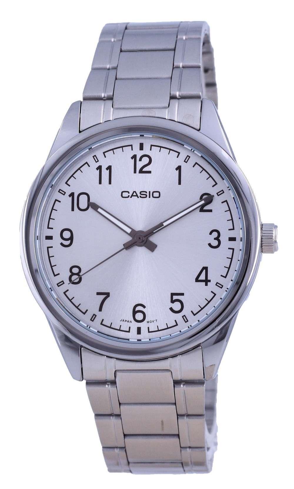 Reloj Casio de cuarzo analógico de acero inoxidable con esfera plateada MTP-V005D-7B4 MTPV005D-7 para hombre
