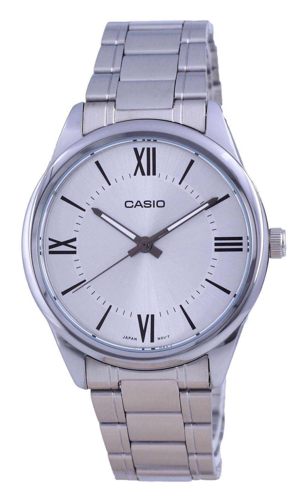 Reloj Casio de cuarzo analógico de acero inoxidable con esfera plateada MTP-V005D-7B5 MTPV005D-7 para hombre