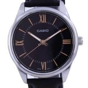 Reloj Casio de cuarzo analógico de acero inoxidable con esfera negra MTP-V005L-1B5 MTPV005L-1 para hombre