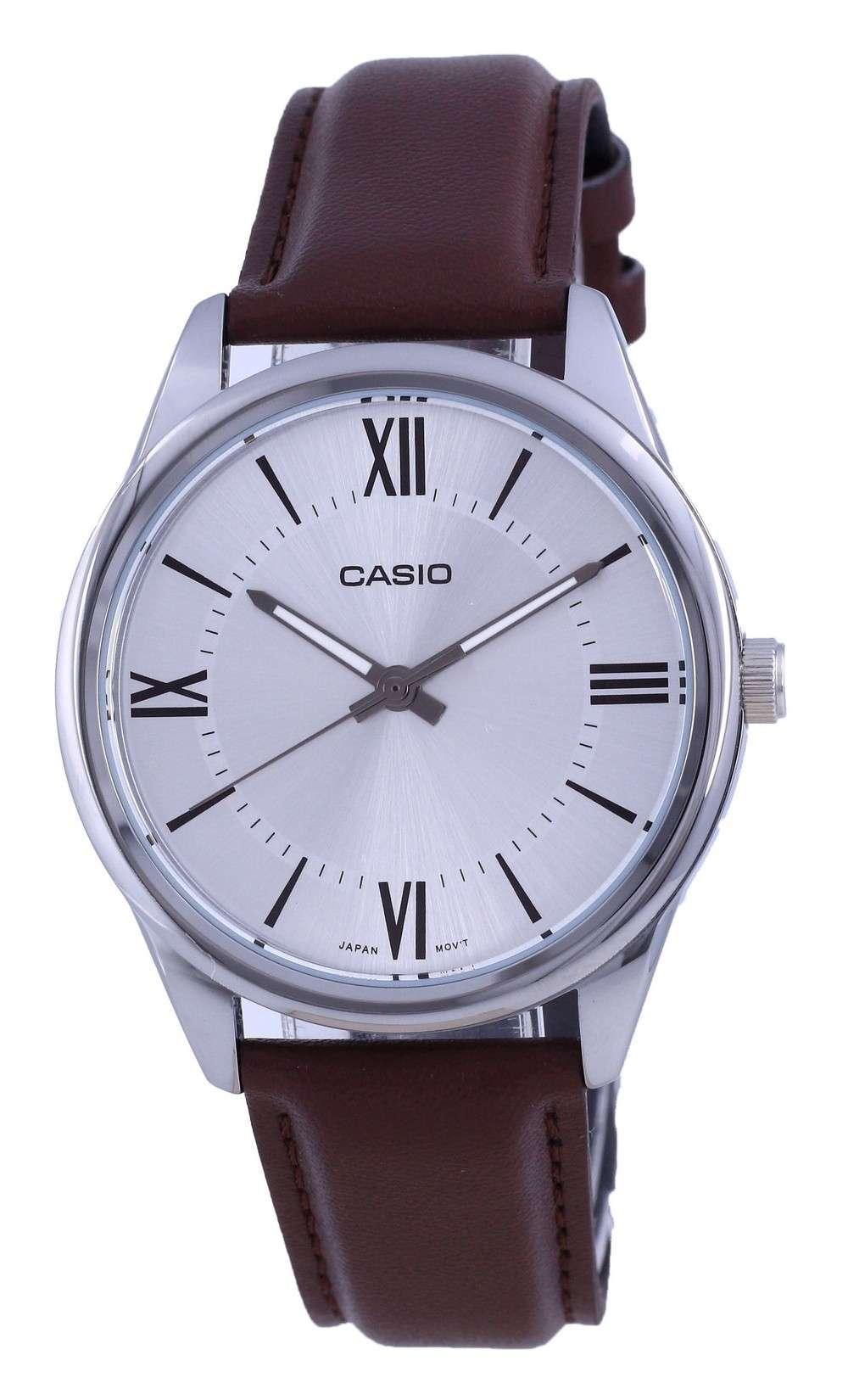 Reloj Casio de cuarzo analógico de acero inoxidable con esfera plateada MTP-V005L-7B5 MTPV005L-7 para hombre