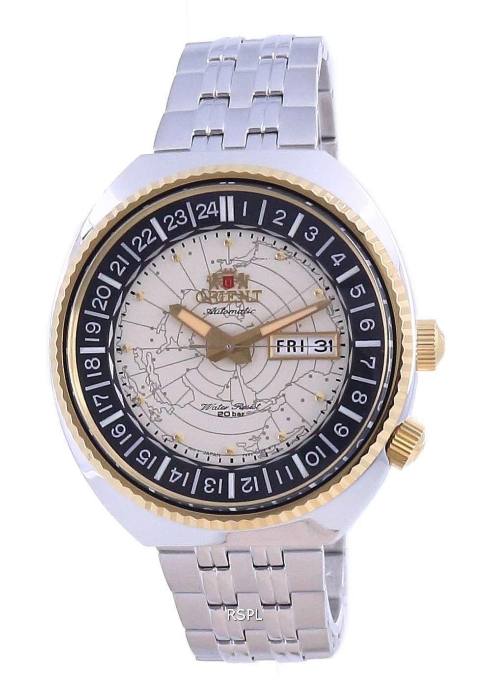 Reloj para hombre Orient World Map Revival de acero inoxidable automático Diver&#39,s RA-AA0E01S19B 200M