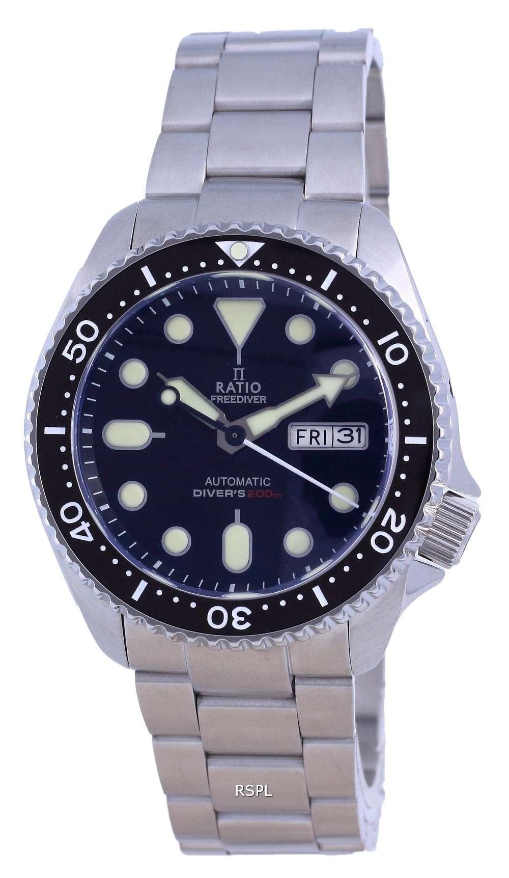 Ratio Reloj para hombre RTA100 200M de acero inoxidable con esfera negra y automático
