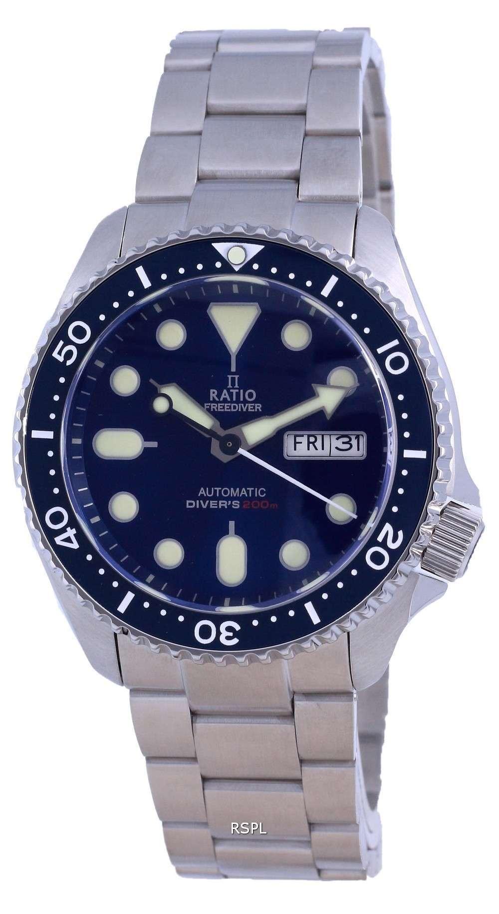 Ratio FreeDiver Dial azul Acero inoxidable Automático RTA102 200M Reloj para hombre