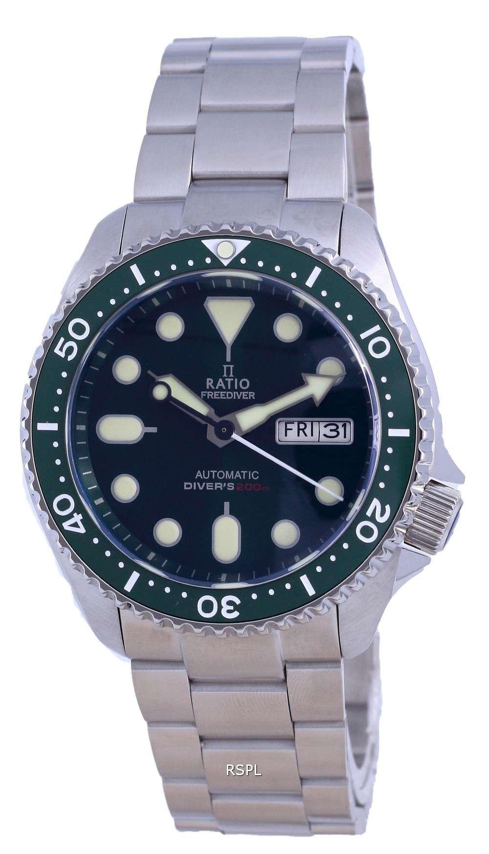 Ratio FreeDiver Reloj para hombre de acero inoxidable con esfera verde y automático RTA105 200M