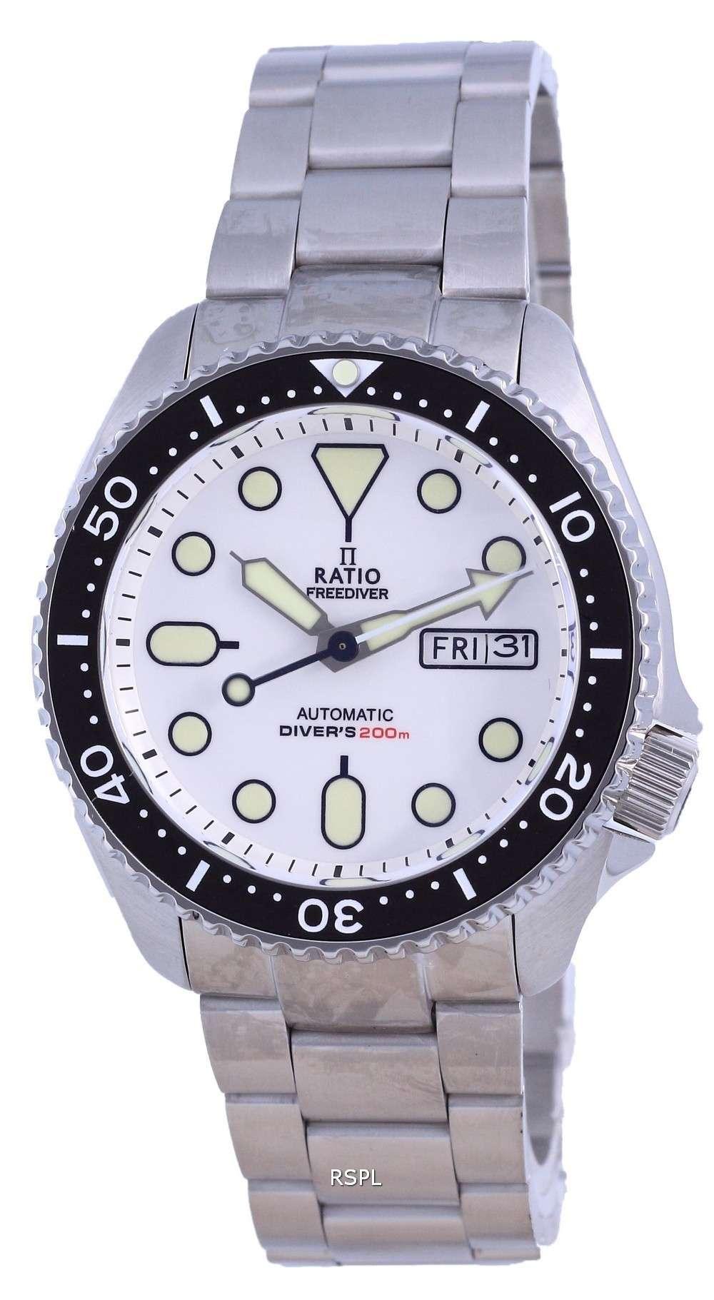 Ratio FreeDiver, esfera blanca, acero inoxidable, automático, RTA109, 200M, reloj para hombre